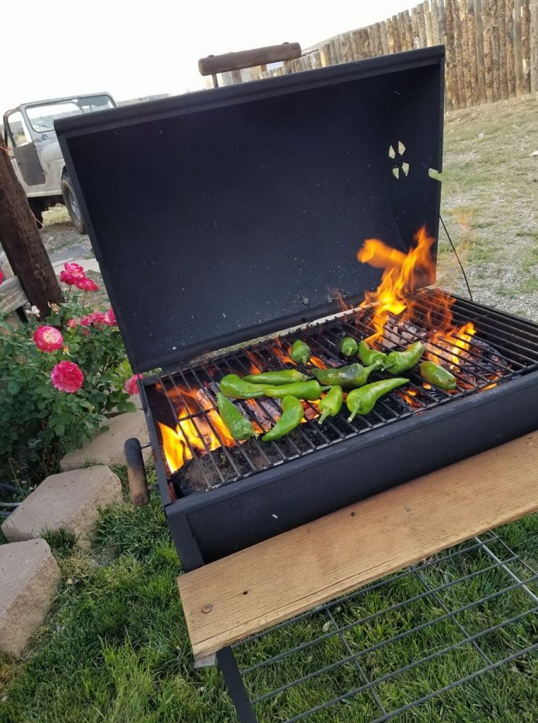 My Kind Of Livable: Roasting New Mexico Hatch Green Chile to prepare for peeling and freezing. This is a common and traditional ingredient in Northern New Mexico cuisine.